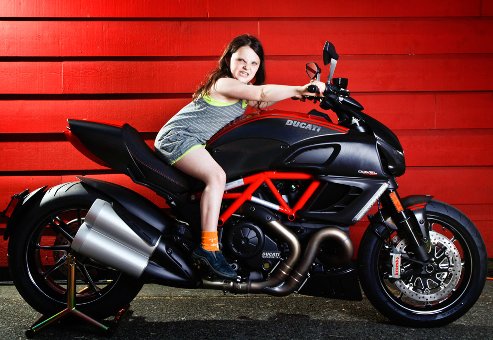 Motorcycle Girl Portrait of Claire on a Ducati | GREAT KID PIX