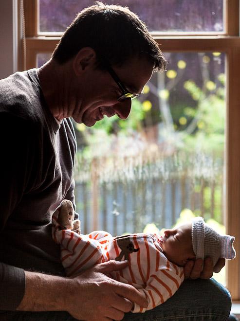 Newborn baby with dad